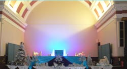 Extensive stage setting for New Years Eve at Torquay Town Hall
